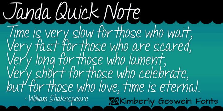 Janda Quick Note font by Kimberly Geswein