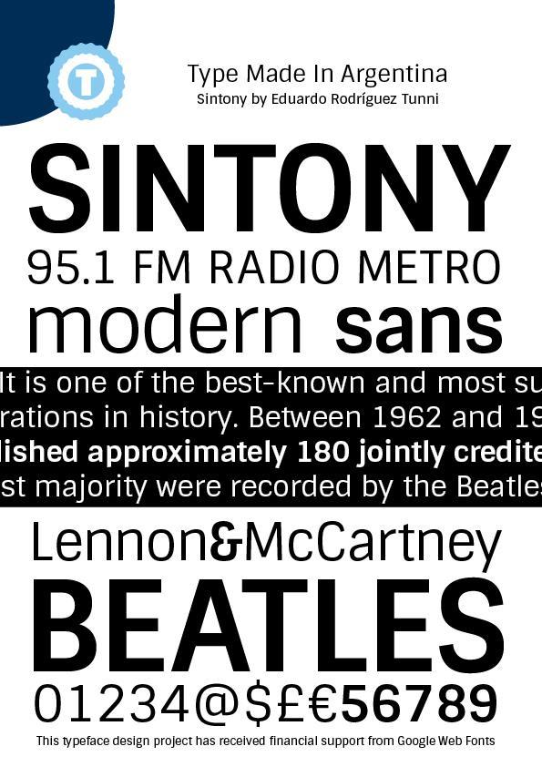 Sintony font by Eduardo Tunni