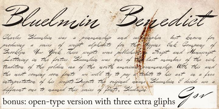 Bluelmin Benedict font by Intellecta Design
