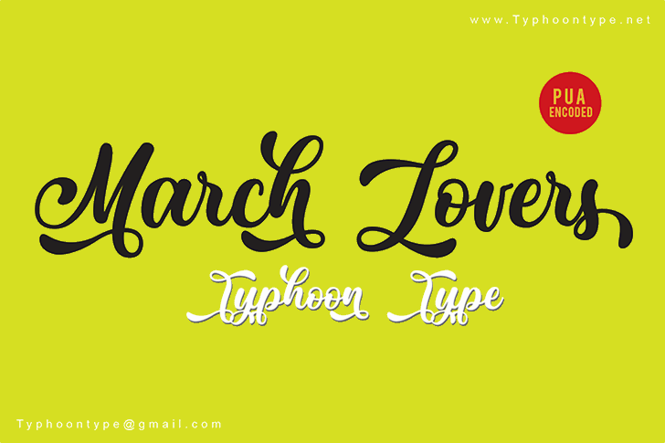 March Lovers - Personal Use font by Typhoon Type - Suthi Srisopha