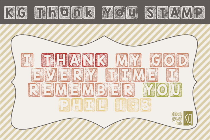 KG Thank You Stamp font by Kimberly Geswein