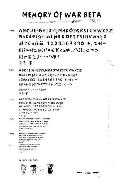 Memory of War Beta 1 font by Chancleta Power