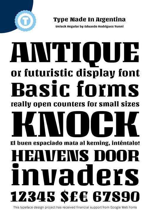 Unlock font by Eduardo Tunni