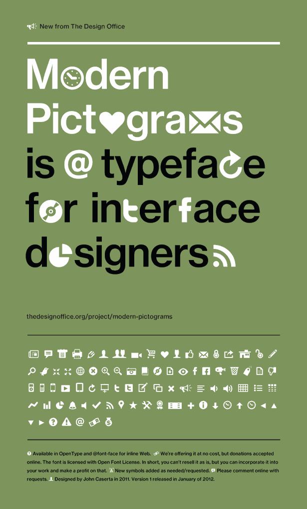 Modern Pictograms font by John Caserta