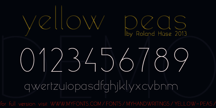 yellow peas demo font by Roland Huse Design