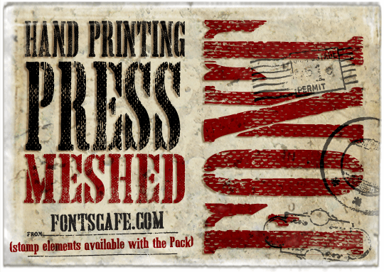 Hand Printing Press Meshed_demo font by FontsCafe