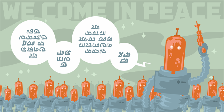 We Come In Peace BB font by Blambot
