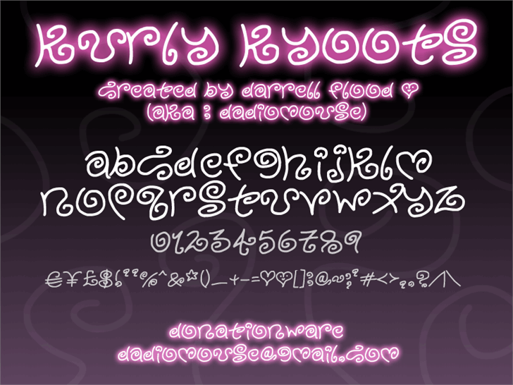 Kurly Kyoots font by Darrell Flood