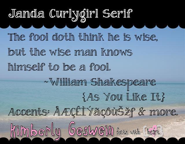 Janda Curlygirl Serif font by Kimberly Geswein