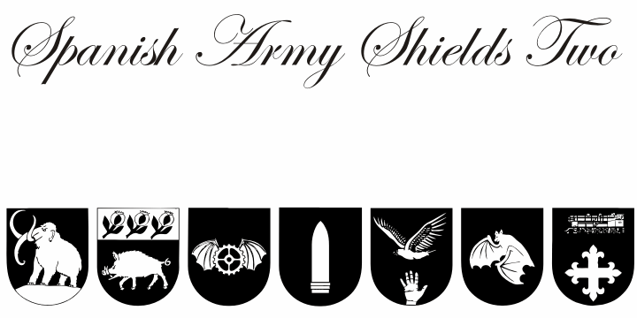 Spanish Army Shields Two font by Intellecta Design