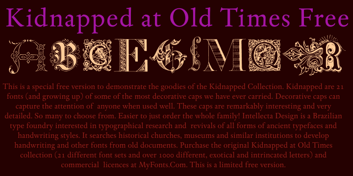 Kidnapped at Old Times Free font by Intellecta Design