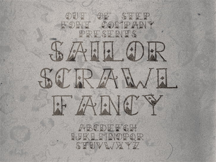 Sailor Scrawl Fancy font by Out Of Step Font Company