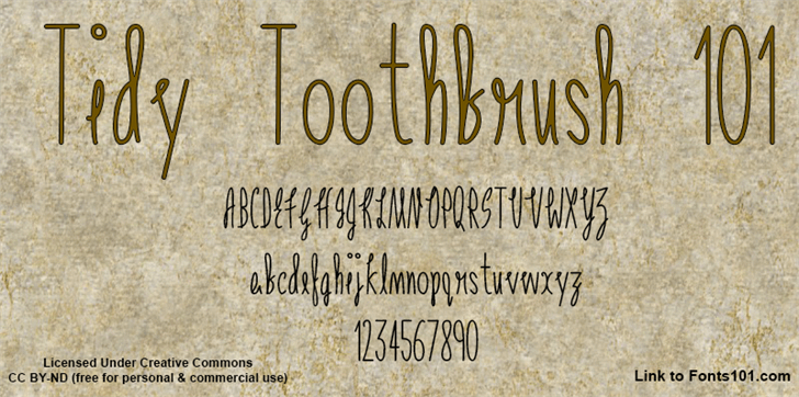 Tidy Toothbrush 101 font by Fonts101
