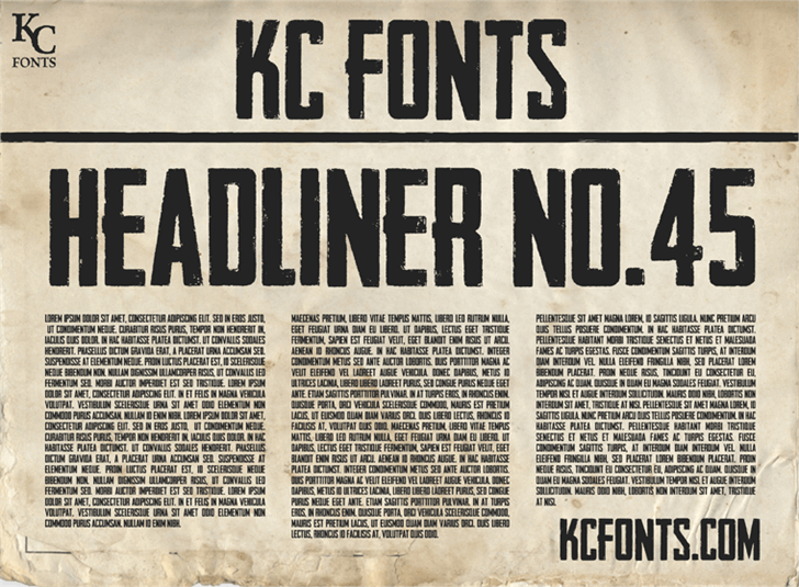 Headliner No. 45 font by KC Fonts