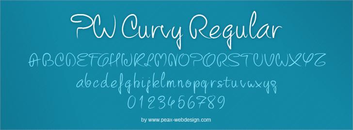 PW Curvy regular script font by Peax Webdesign