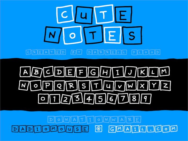Cute Notes font by Darrell Flood