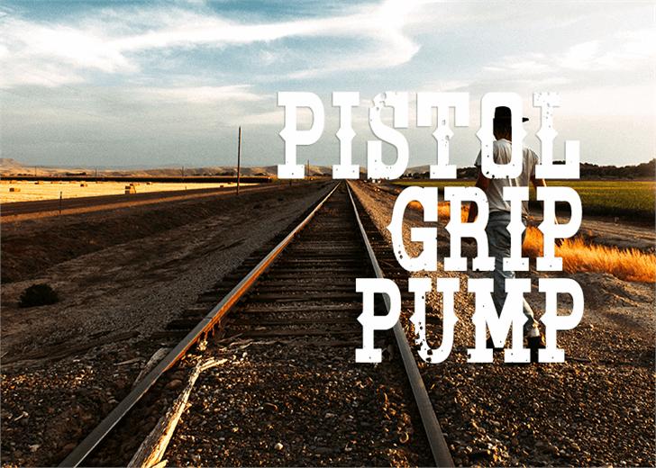 Pistol Grip Pump font by Font Monger