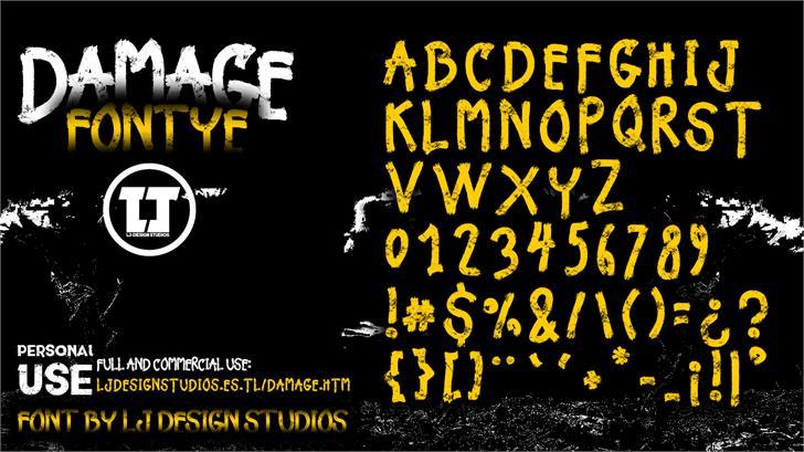 Damage font by LJ Design Studios