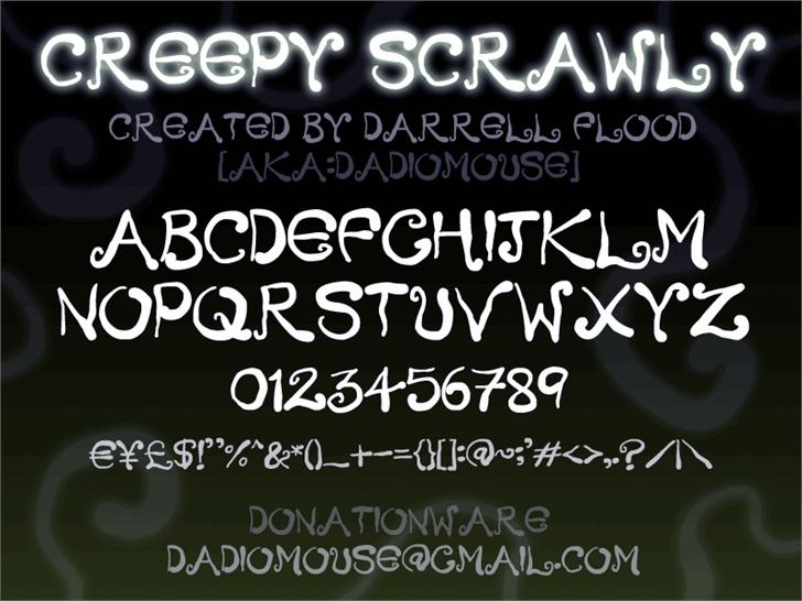 Creepy Scrawly font by Darrell Flood