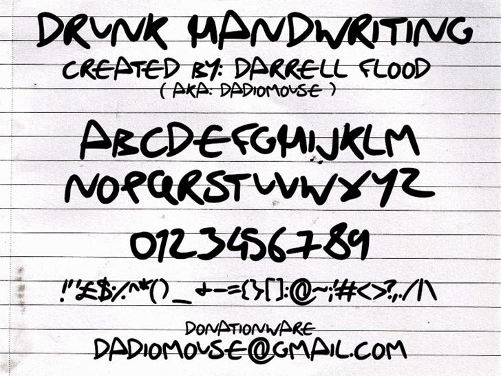 Drunk Handwriting font by Darrell Flood