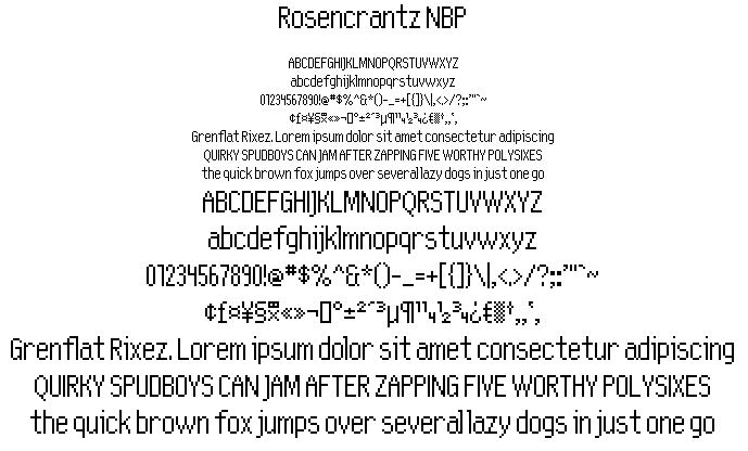 Rosencrantz NBP font by total FontGeek DTF, Ltd.