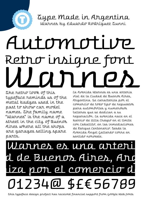 Warnes font by Eduardo Tunni
