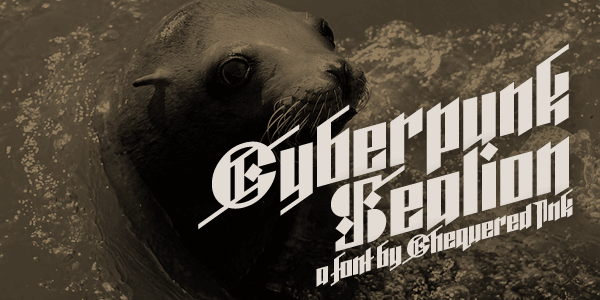 Cyberpunk Sealion font by Chequered Ink