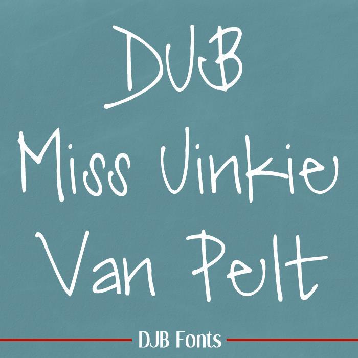 DJB Miss Jinkie Van Pelt font by Darcy Baldwin Fonts