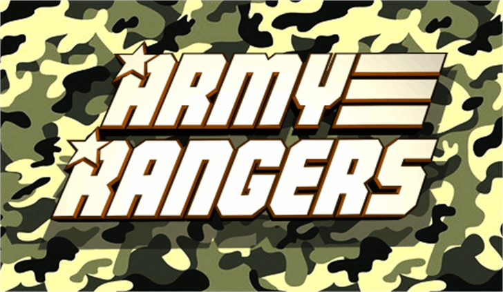 Army Rangers Font cartoon poster