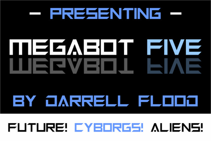 Megabot Five Font screenshot design