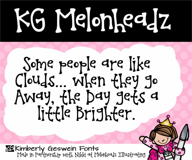 KG Melonheadz Font cartoon text