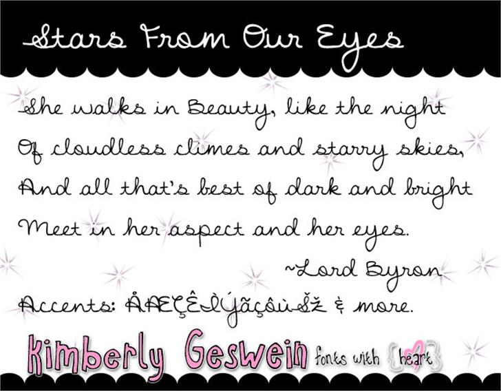 Stars From Our Eyes Font handwriting screenshot