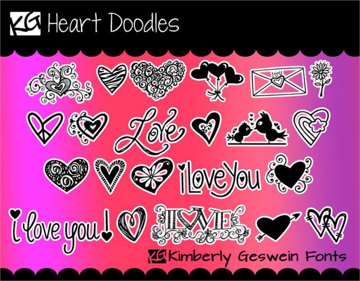 KG Heart Doodles Font cartoon poster