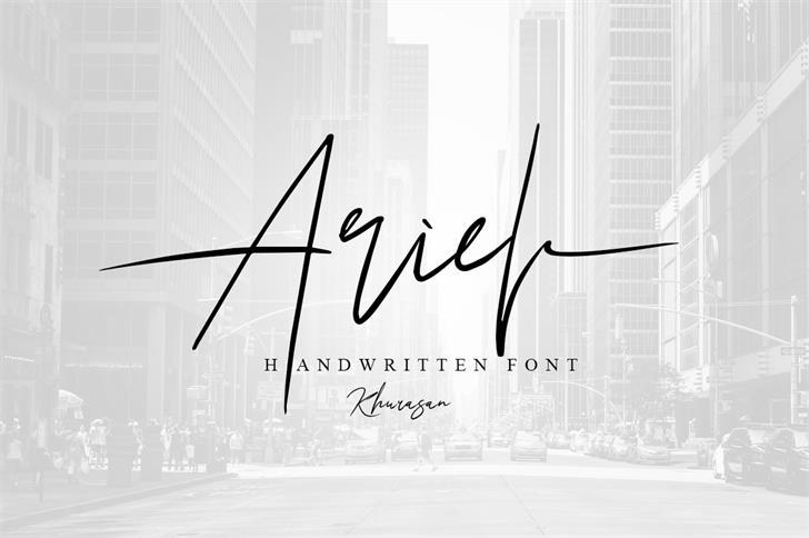 Ariel Script Font design handwriting