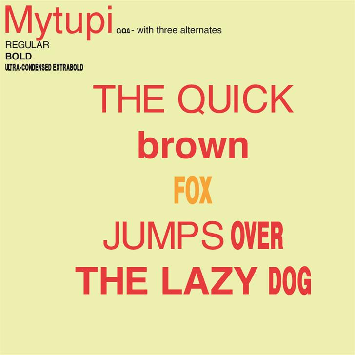 Mytupi Font design graphic