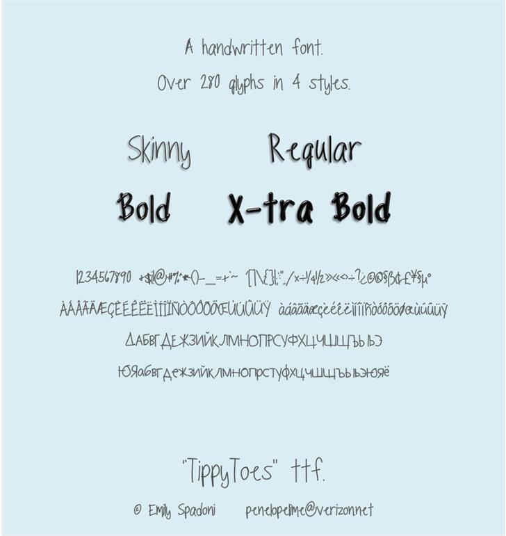 TippyToes Font text design