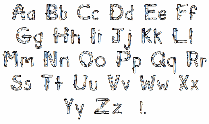 Sketch Logs font by Character
