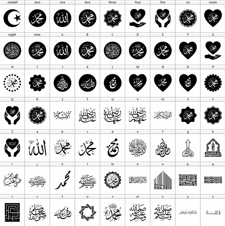 Mohammad Rasool Allah Font black-and-white pattern