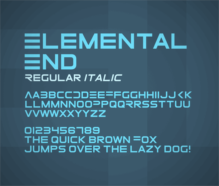 ElementalEnd Font screenshot design
