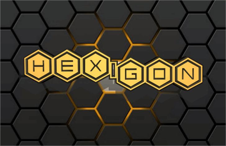 HEX:gon Font honeycomb yellow