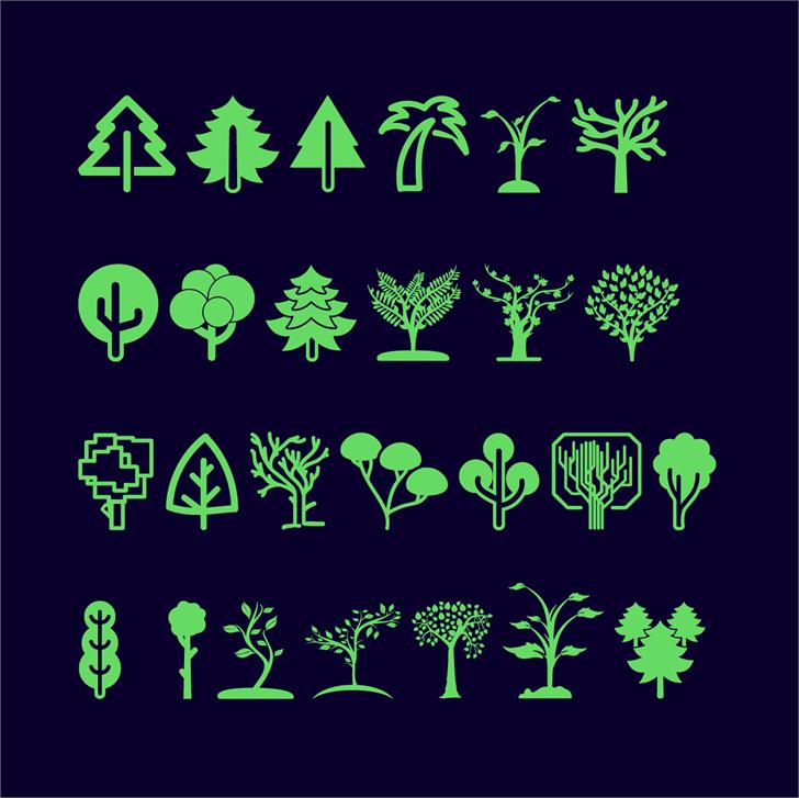 Trees Go Font cartoon illustration