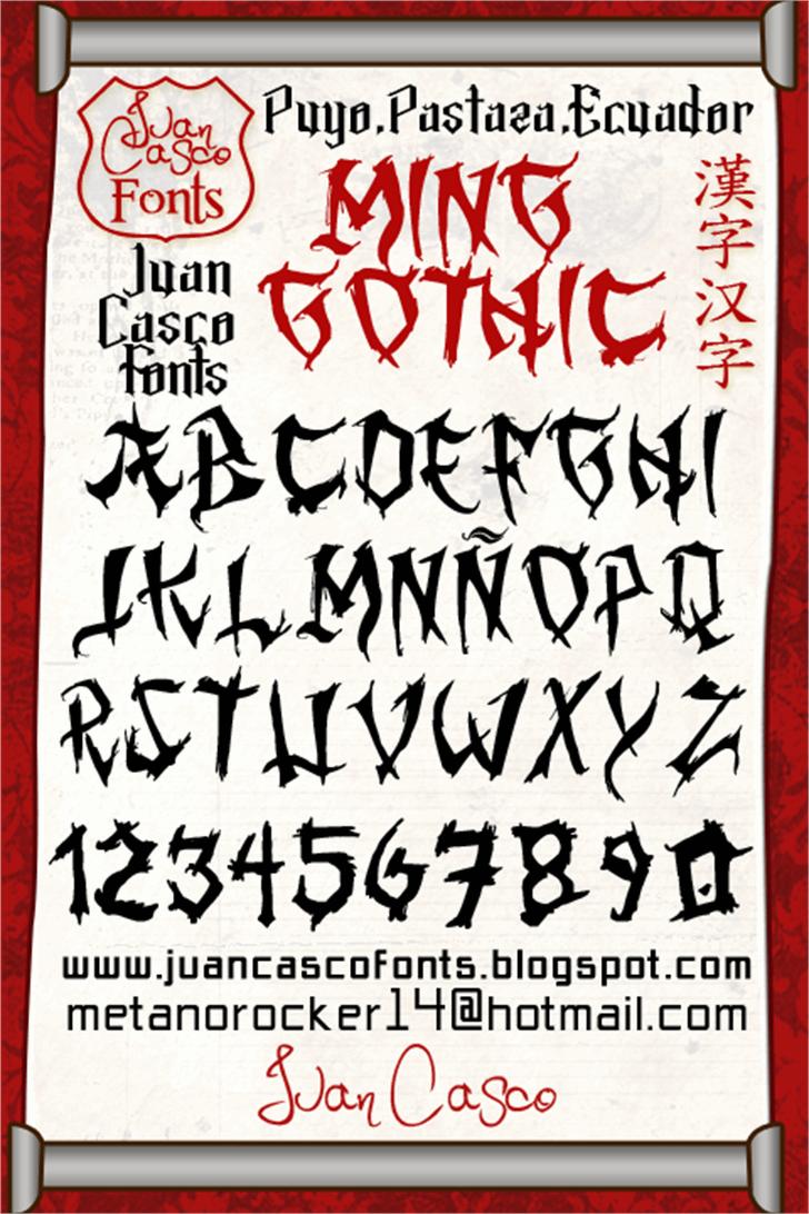 Ming Gothic JJCR font by Juan Casco