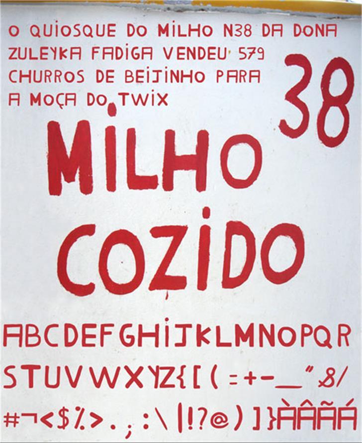 Milho Cozido Font sign poster