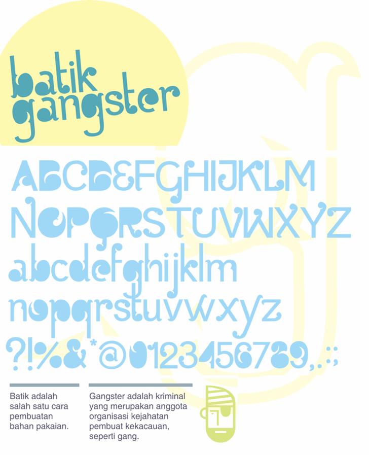 Batik Gangster Font handwriting typography