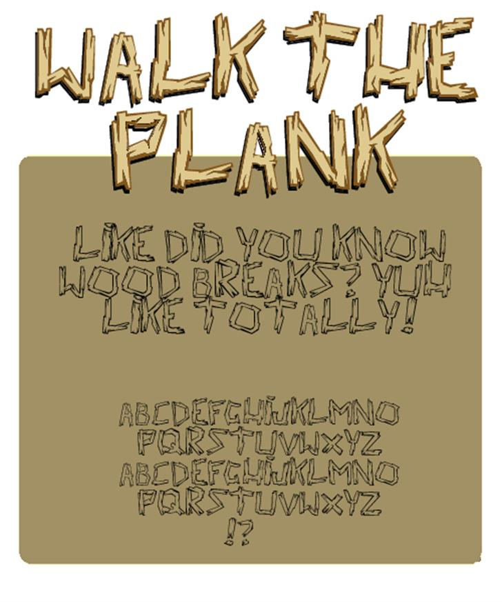 walk the plank Font handwriting text