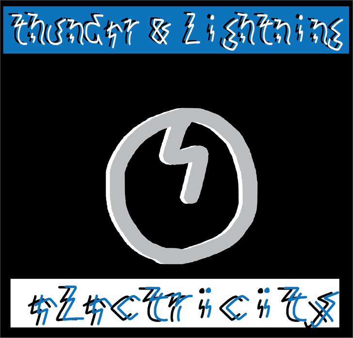 thunder and lightning Font design screenshot