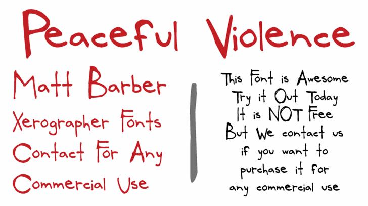 PeacefulViolence Font handwriting text