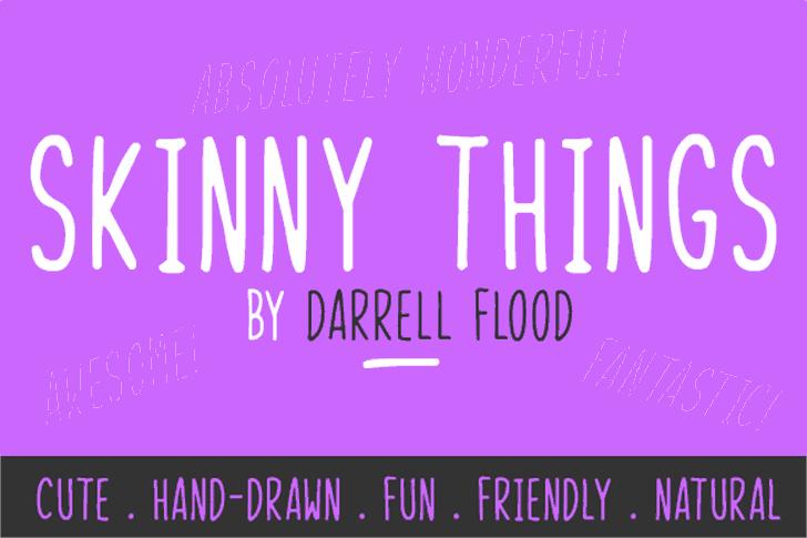 Skinny Things Font design screenshot