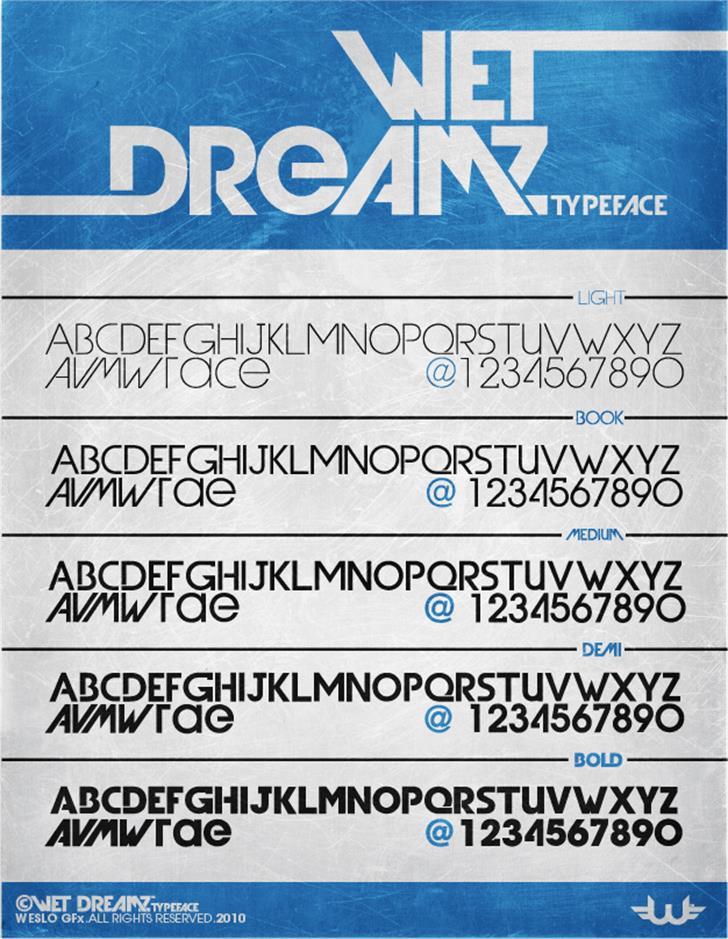 Wet Dreamz Font screenshot text