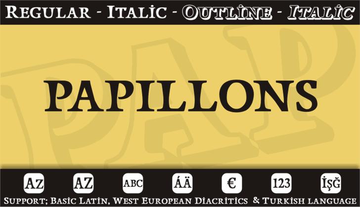 Papillons Font design graphic